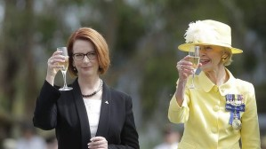 Prime Minister Julia Gillard and Governor General Quentin Bryce toast the Centenary of Canberra. Photo: Andrew Meares  stolen from the SMH webpage