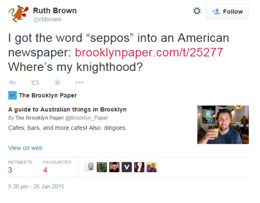 "Screencap from Twitter: ""I got the word 'seppos' into an American newspaper: [link] Where's my knighthood?"
