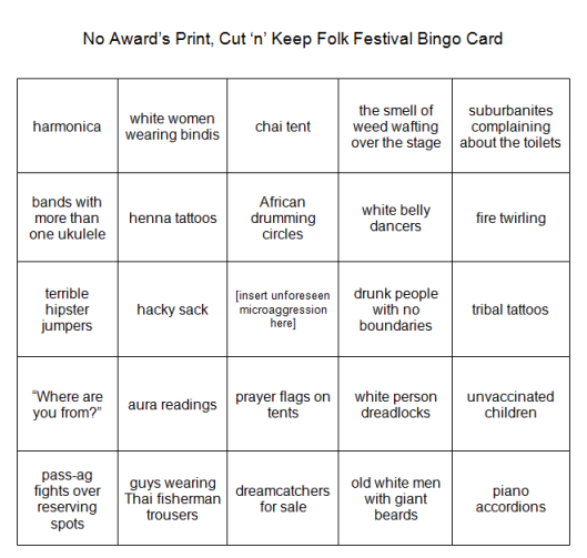 No Award apologises that this bingo card is presented as an image, and promises to learn to code tables.