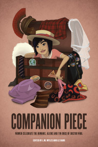 Cover of Companion Piece - a pale brown background with a young woman clambering out of a box.