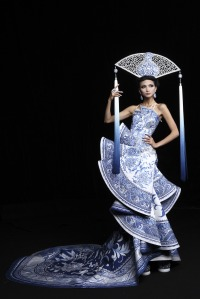 Chinese woman in a dress designed to evoke blue porcelain