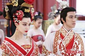 Fang Bing Bing in Empress of China in a red Tang dress