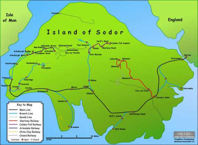 map of the island of sodor with lines and locations marked