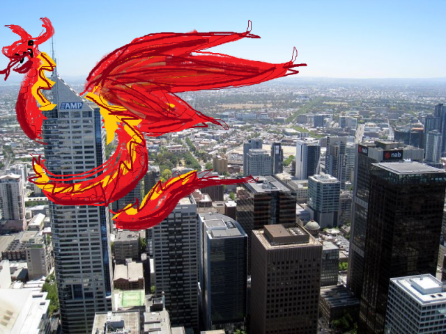 Totes real dragon not at all drawn in Paint, curled around a skyscraper.