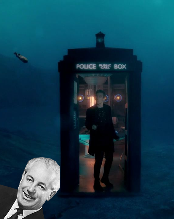 A screenshot of the TARDIS underwater, with Harold Holt's head superimposed at the bottom.