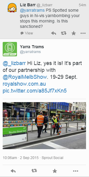 Twitter exchange between Liz and Yarra Trams, confirming that it is real yarnbombing.