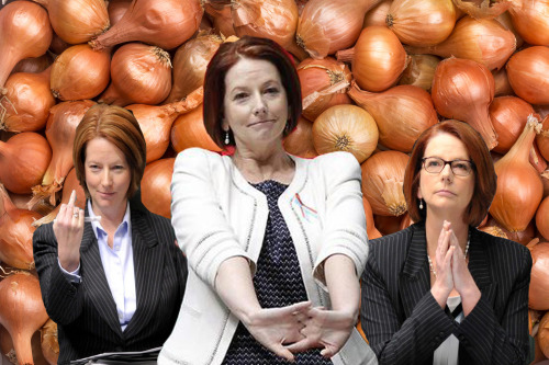 julia gillard stretching her arms out on a background of onions