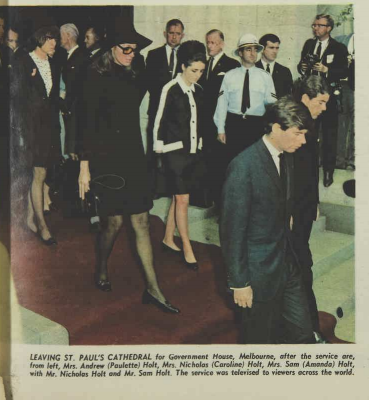 Photograph of two of Holt's daughters-in-law leaving the funeral, both looking chic in black.