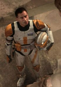 Temuera Morrison wearing cone trooper armour. He is unambiguously brown.