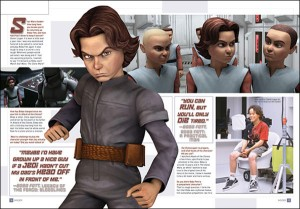 Magazine spread showing the young Boba Fett as unambiguously white. (His actor is in the background, a fair-skinned Maori teen.)
