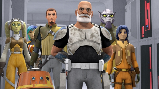 Rebels promo picture showing Rex, a much older clone. He has light brown skin, like a white person who has been in the sun.