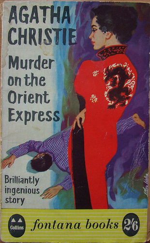 A rather racist cover for Murder on the Orient Express, depicting an Asian woman in a silk robe staring down at a corpse.