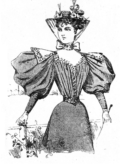 1896 woodcut illustrating woman wearing classic late Victorian puffed sleeves.