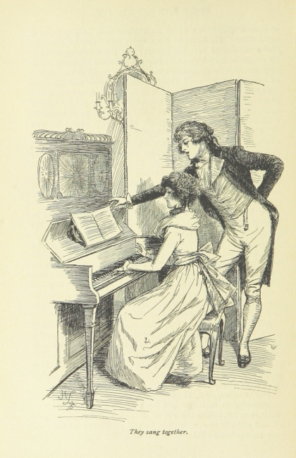 "Illustration from Sense & Sensibility: Marianne sits at a piano, Willoughby leans over her to turn the page. Caption: ""They sang together."" By modern standards, his body language is quite overbearing."
