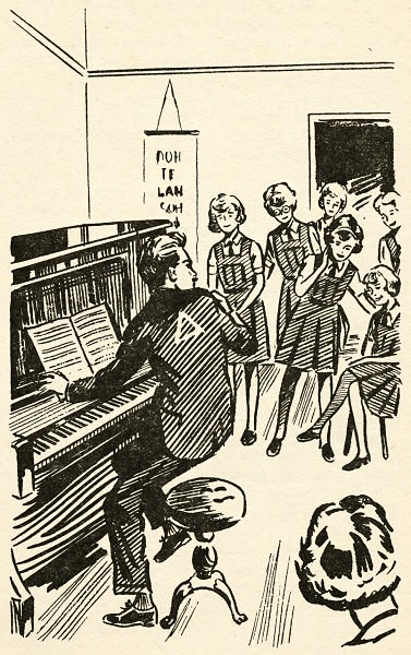 Line art depicting Mr Young rising from his piano, peering over his shoulder at a group of girls. There's a triangle in the centre of his back, between his shoulder blades.