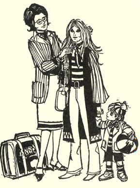 "Line art depicting Sally's mother fussing with her hair, while her little sister holds her hand. Sally's ""look"" is very 60s -- long, loose hair, eye make-up, bell bottoms."