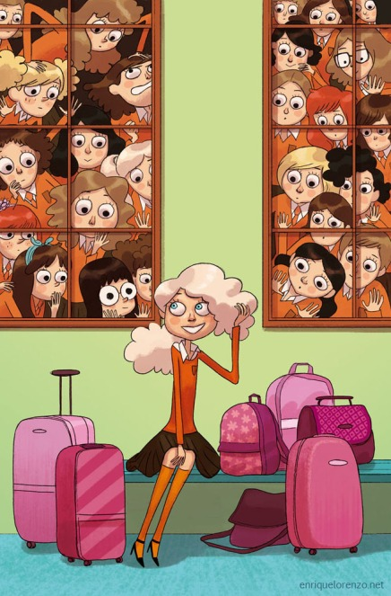 Brightly coloured cartoon depicting Daphne (blond, slim, wearing high-heeled Mary-Janes), sitting on a bench, smiling and playing with her hair, surrounded by an array of hot pink luggage. Girls crowd the windows behind her, peering in amazement at the new girl.
