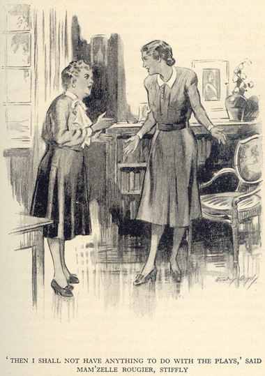 Image: Illustration depicting the Mam'zelles arguing. Mam'zelle Dupont is delightfully round and feminine; Rougier is appropriately tall and thin, but giant shoulder pads make her posture look strange.