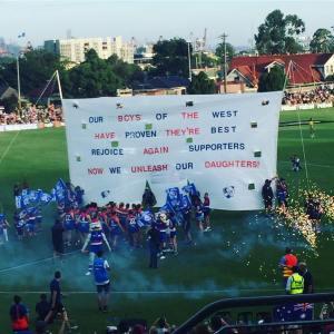 A Bulldogs banner:
